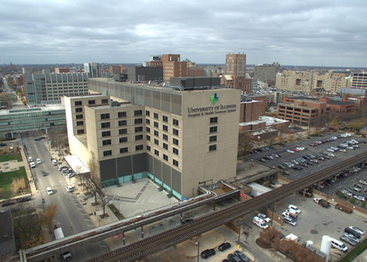 Aerial view of University of Illinois Hospital and UIC West Campus