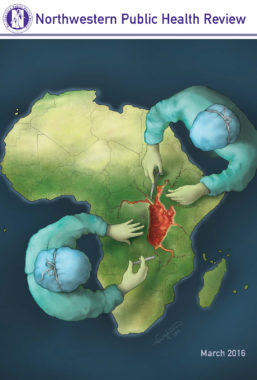March 2016 cover of Northwestern Public Health Review depicting two doctors performing a surgical procedure of the continent of Africa
