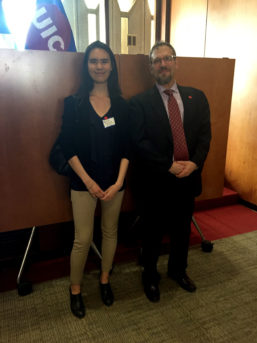 Natalie Yoshioka, award winner, with BHIS faculty member Eric Swirsky