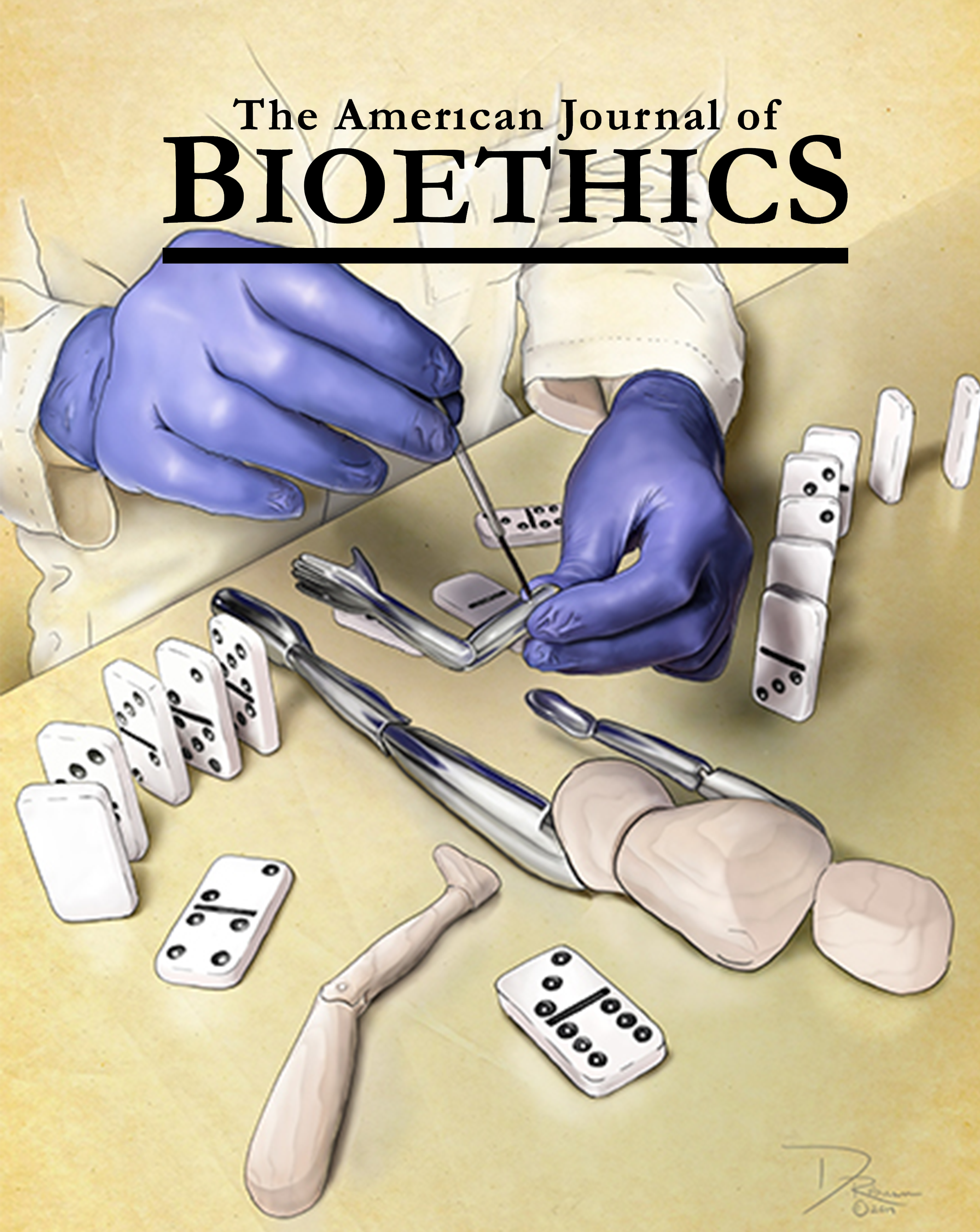 July 2019 cover of the American Journal of Bioethics by Dani Robinson