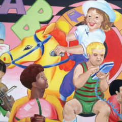 A mural on the wall of the Clinic that shows a diverse group of children and adults interacting and playing