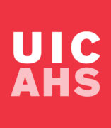 Red square box logo with UIC AHS letters