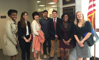 Tanya Auguste with fellow LEND trainees in formation before entering Senator Dick Durbin's office