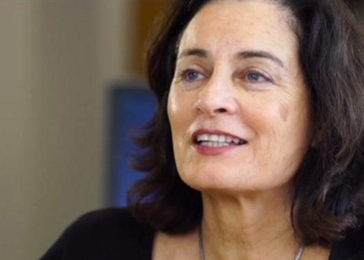 Screen grab of Tamar Heller speaking in Going Home documentary