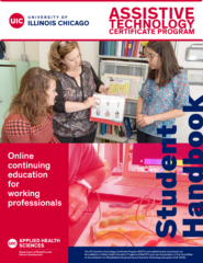 Cover image of student handbook featuring Dr. Politano demonstrating a paper-based AAC system to students.