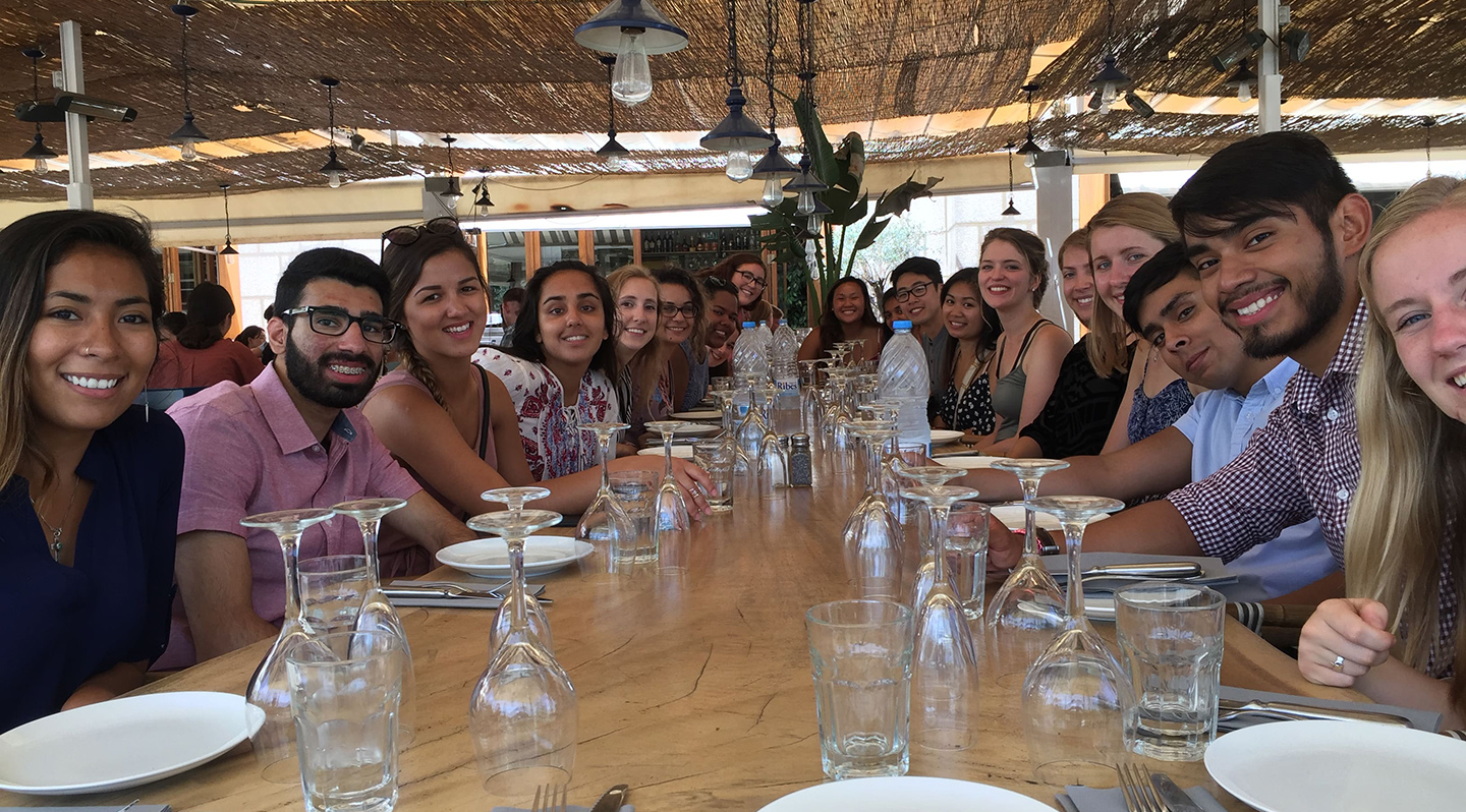 AHS Study Abroad 2017: Barcelona student participants grouped together with professor John Coumbe-Lilley