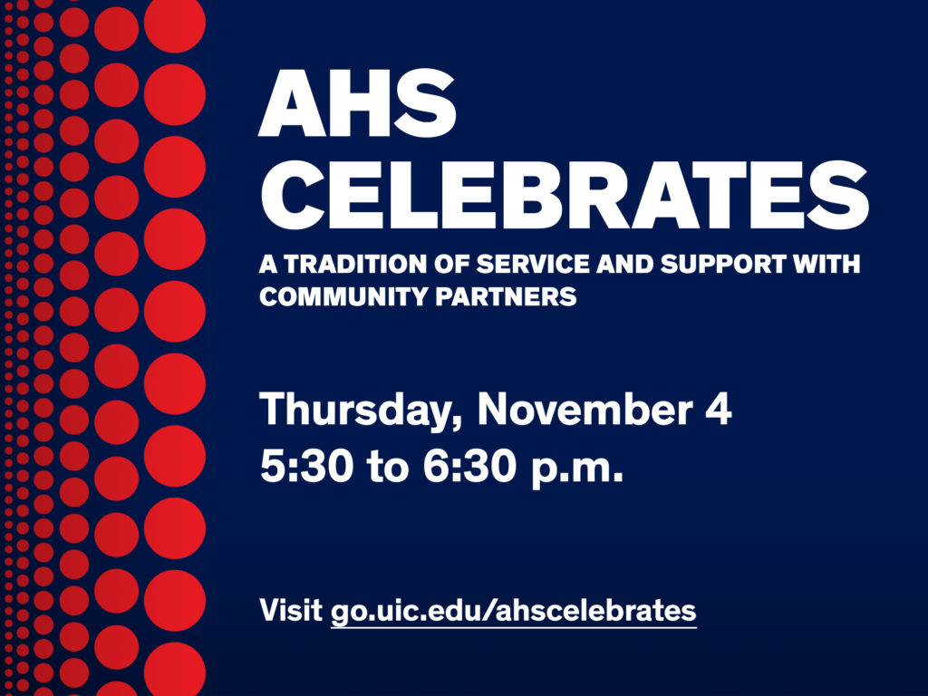 graphic of AHS celebrates- red dots and information