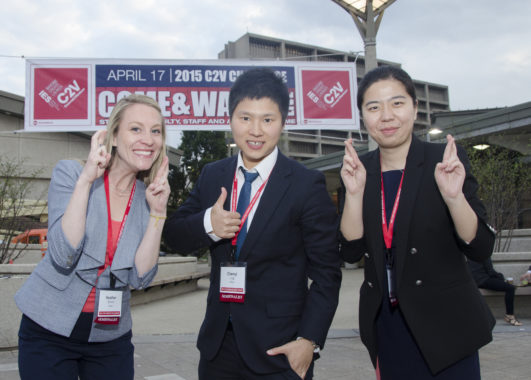 Doctoral students in kinesiology and nutrition Heather Grimm, Chenyl Ling and UIC business student Huizhang Zhou pictured from left to right