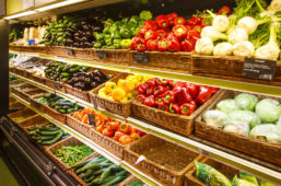 Fresh produce on shelves at grocery store
