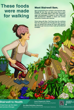 Illustration of woman running up stairs labeled with vitamin and minerals and lined with vegetables and fruits