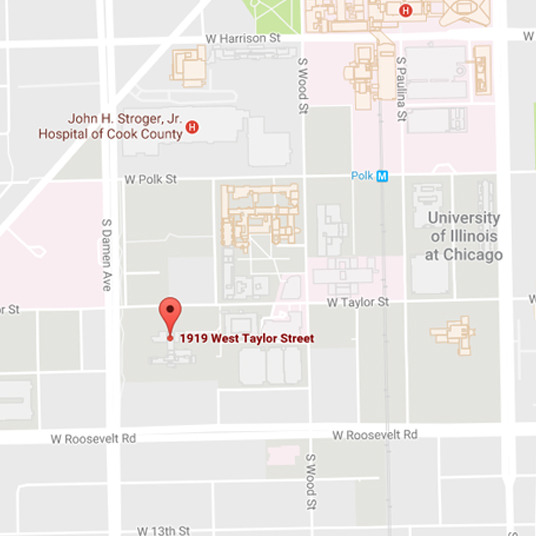 Map of Applied Health Sciences Building location on UIC West Campus