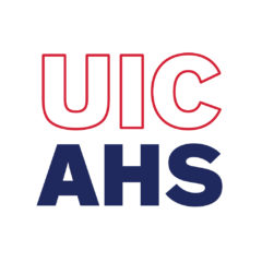 UIC AHS red and blue square block logo