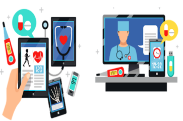 smartphone and computer mixed with doctor and stethoscope