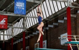 Cydney Liebenberg prepares to take off from the diving board.