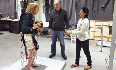 Virginia Rasmus throws a ball to graduate student Sailee Jagdhane as part of a study led by UIC researcher Alexander Aruin on preventing falls